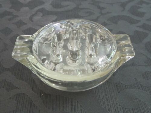 2-PC Flower Frog with handled Bowl – Clear Pressed Glass