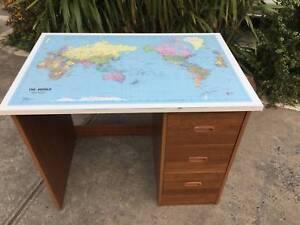 world map desk,mid century desk, desk, childs desk WE CAN DELIVER Brunswick Moreland Area Preview