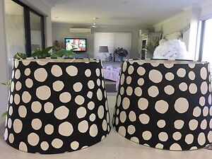2 x large black & white spotted lamp shades Parkinson Brisbane South West Preview