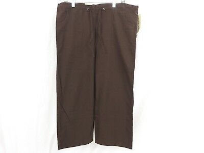 Cherokee Women Capri Pants Size Small Inseam 23 Pull Tie Brown New