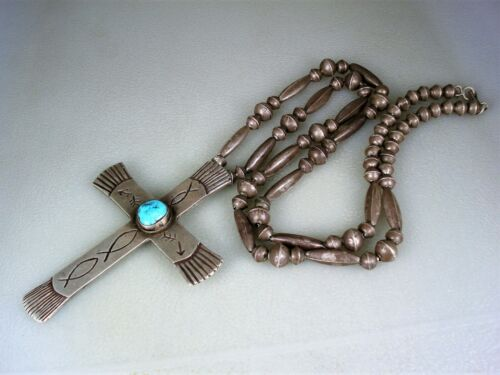 BIG OLD NAVAJO STERLING SILVER BENCH BEAD NECKLACE w/ TURQUOISE CROSS PENDANT