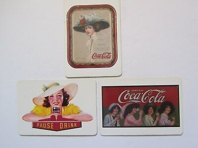 SET OF THREE VINTAGE COCA COLA COKE  GIRL MAGNETIC POST CARD NEW