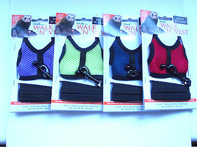 SMALL 'N' FURRY WALK 'N' VEST - FERRET & SMALL PET HARNESS AND LEASH - NEW