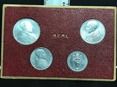 1950 Vatican City Holy Year 4 Coin  Set Pope Pius XII Original Holder