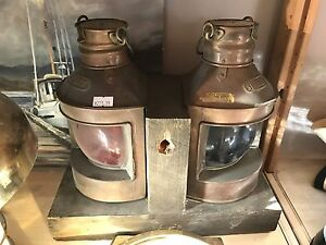 Antique brass ships lights. Port and starboard