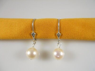 Sterling Silver, AAAA 8 MM Round White Freshwater Pearl Leverback Earrings