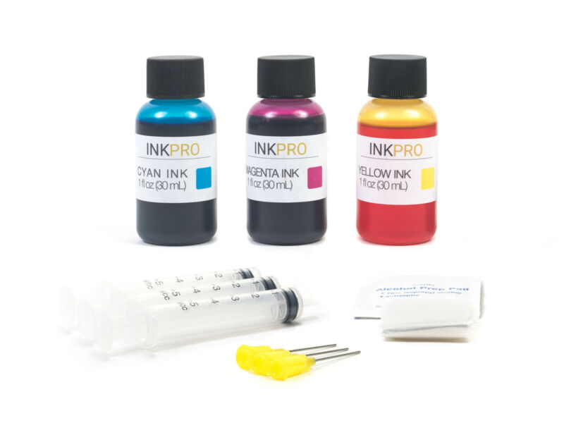 InkPro Premium Tri-Color Ink Refill Kit for HP 60/61/62/63/64/65/XL 30ml/1oz