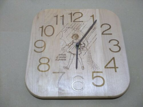 "Morton Salt Girl Wood Wall Clock ""When it Rains it Pours"""