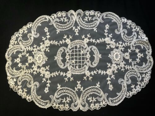 Antique Tambour Lace Embroidery on Net Oval Doily, Centerpiece 16