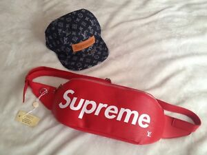 Supreme Louis Vuitton fanny bag new with tags and denim hat