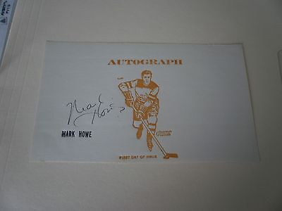 MARK HOWE SIGNED CARD-HARTFORD WHALERS-FIRST DAY OF ISSUE STAMP