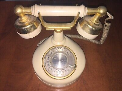 Vintage Western Electric Gold Cream Rotary Dial Telephone 1970s
