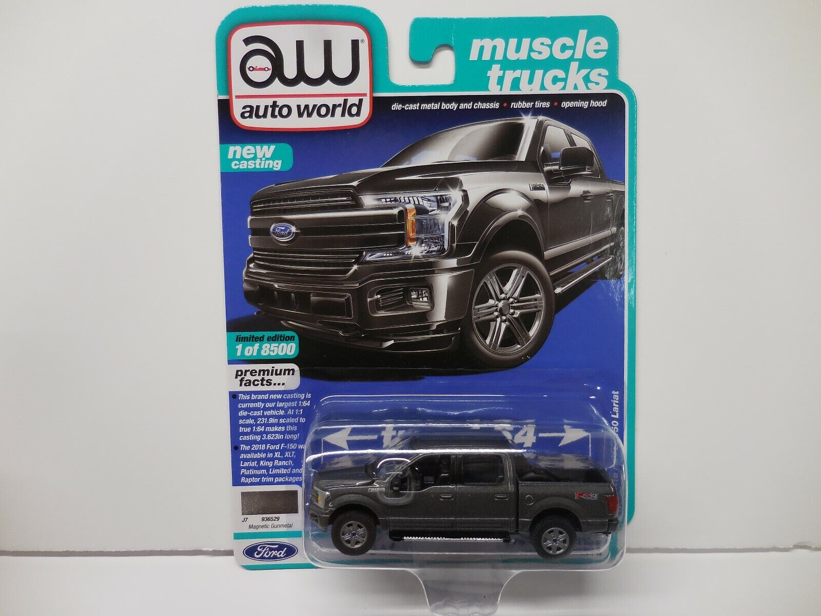 Auto World New  '18 Ford F-150 Lariat Pick Up Truck 1:64 Scale Diecast Car  2