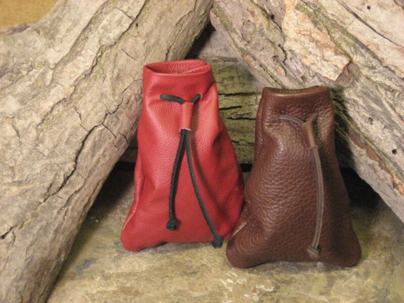 Medieval Handmade Leather Pouch Bag - CHOOSE COLOR, Drawstring Renaissance 5X3