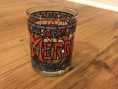 VTG Houze Merry Christmas Stain Glass Cocktail Tumblers Season