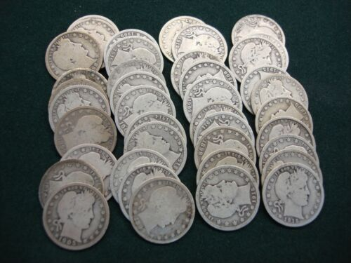 BARBER QUARTERS - FULL ROLL OF 40 ABOVE AVG. FULL RIM COINS - 90 SILVER -NICE - $349.95