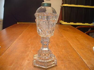 Antique 19ThC Boston Sandwich Flint Glass Whale Oil Lamp in Heart & Waffle Patt.