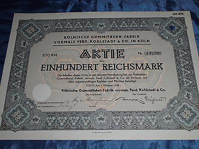 559 : histor. Wertpapier / Aktie , Kölnische Gummifäden Fabrik , 1. Oktober 1938