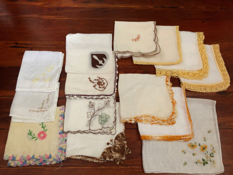 Lot of 14 VTG Handkerchief Hankie White w YELLOW ORANGE BROWN Embroidery Crochet