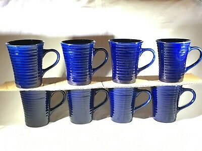 8 ROULETTE Crate & Barrel Cobalt Blue Embossed Rings Coffee Mugs/Cups