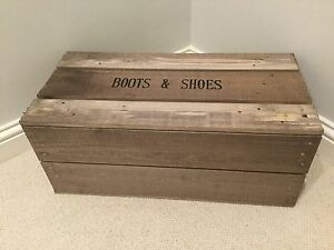Boot & Shoe Storage Box Vintage style Apple Crate Bushel Box With Wooden Lid
