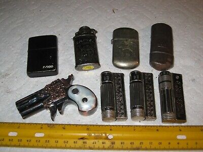 vintage junk drawer lot, cigarette lighters, Camel Firebird, Nano, Austria, Zippo, KW