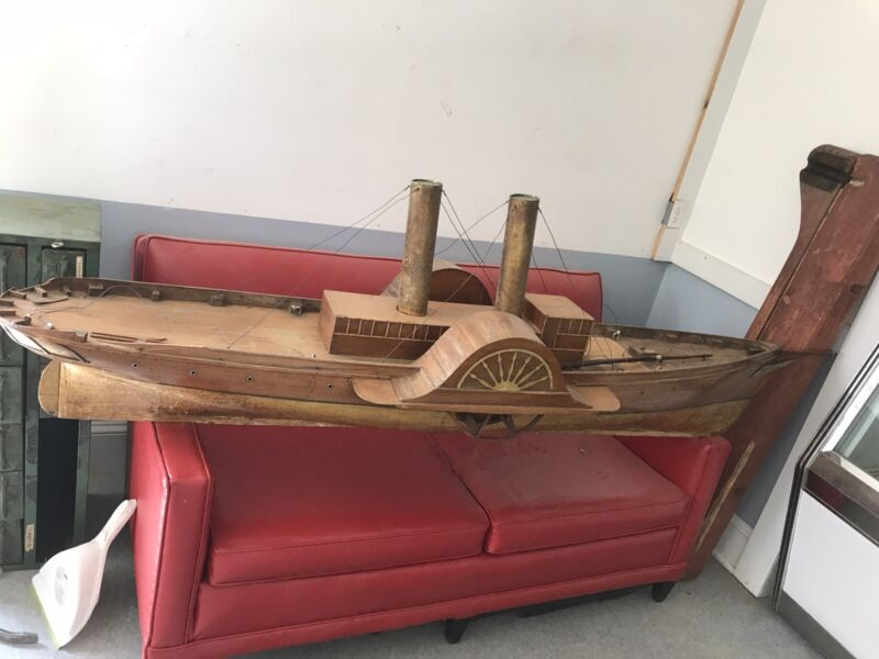 Antique Ship Model 1910 Steam Paddle Wheel CUSTOM BUILT, ONE OF A KIND 7' Long