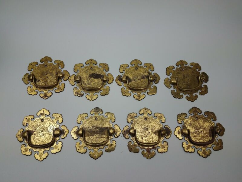 Vintage Asian Style Solid Brass Drawer Pulls Set of 8