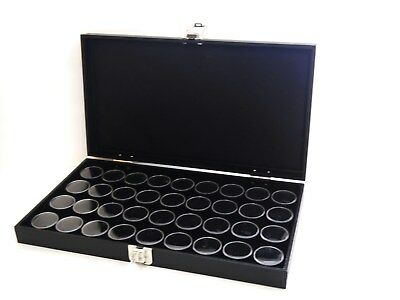 Grained Leatherette Black 36 Jar Display Case Box Gems Body Jewelry Gold Nugget