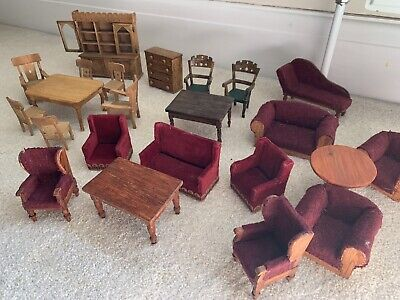 Vintage Dolls House Furniture. Hand Crafted. Curious Lot Of Furniture C1960s