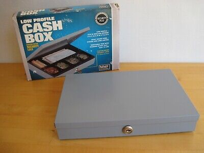 Metal Locking Cash Box With 2 Keys Made In Usa Mmf Industries Low Profile