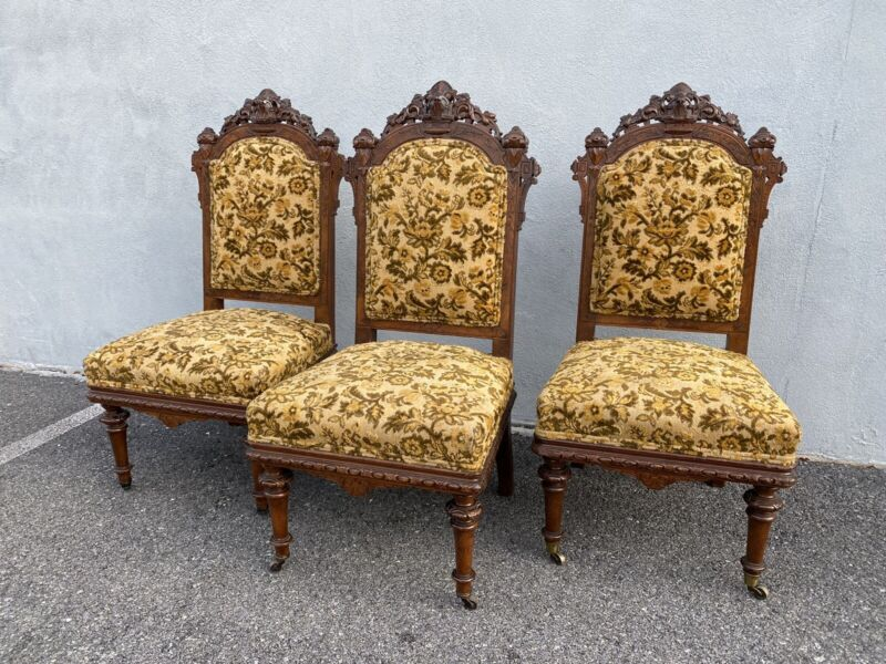 3 renaissance Revival Allen & Brother Side Chairs. Victorian/Carved Circa 1870s