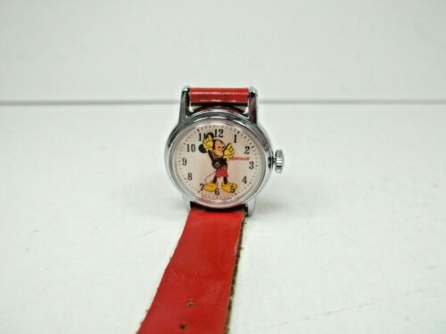 Ingersol Mickey Mouse Watch Red Band US Time Wind Up Working