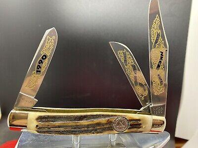 NKCA Limited Edition Robi Klaas Kissing Crane Club Knife 1990 Stag Handles