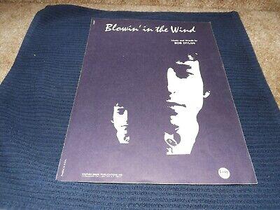 BOB DYLAN - BLOWIN'  IN THE WIND - VINTAGE SHEET MUSIC - 1970 (Blowin In The Wind Piano Sheet Music)