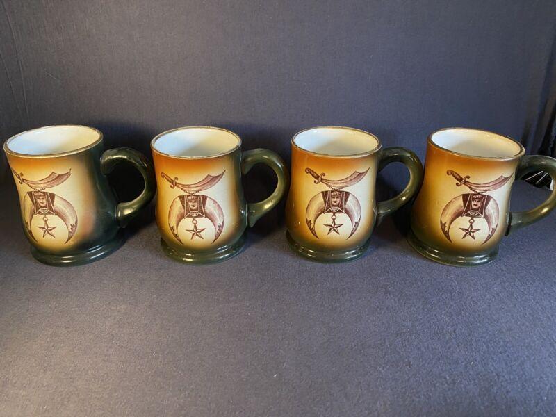 4 Antique Masonic Za-Ga-Zig Temple AAONMS Des Moines Iowa 1904 Mugs