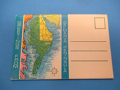 Vintage Souvenir Postcard Folder Delmarva Peninsula S391