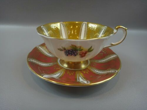 Vintage Paragon ORCHARD FRUIT Center Quatrefoil Cup & Saucer Set BEAUTIFUL