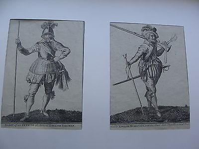 2 alte Stiche, Englischer Offizier und Musketier im neuen Rahmen