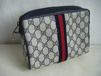GUCCI ACCESSORY COLLECTION Vtg 70s Navy Monogram Medium Cosmetic Clutch Bag