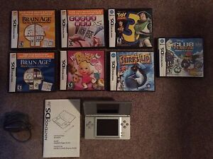 Silver Nintendo DS Lite With Games