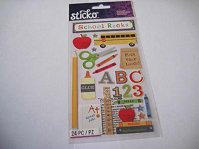 Scrapbooking Stickers Crafts Sticko School Rocks Bus Glue Scissors Ruler Lunch - Scrapbooking Glue