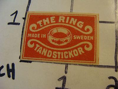 Vintage matchbook label: THE RING, TANDSTICKOR SWEDEN