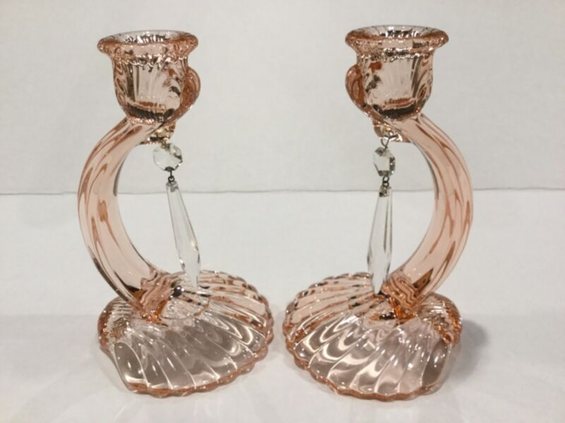 "Cambridge Glass Caprice Pink 7"" #70 Candlesticks With Prisms Pair"