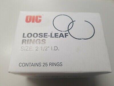 Binder Rings 2-12 25 Rings Per Box - New Silver Oic 99705