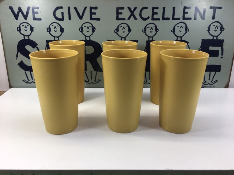 Vintage Tupperware 873 Yellow 12 oz Tumbler Cup Lot Of 6. 100% Never Been Used!!
