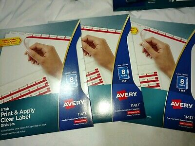 Avery 11417 Index Maker Clear Label Divider 8tabs Lot Of 3 Units Bonus Pack New