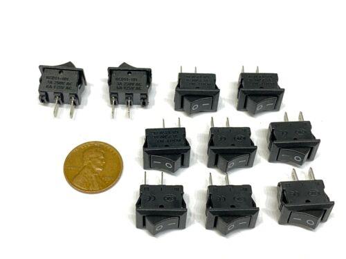 10 Pieces Black Rocker switch 15x10mm 2pin 6a small boat on off  mini kdc1 B22