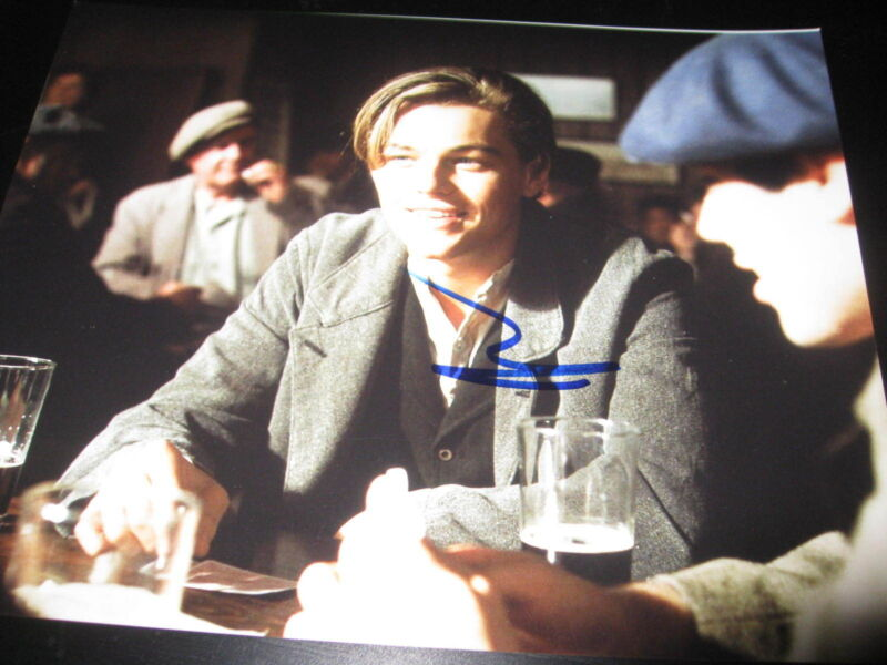 LEONARDO DICAPRIO SIGNED AUTOGRAPH 8x10 PHOTO TITANIC PROMO IN PERSON COA AUTO E