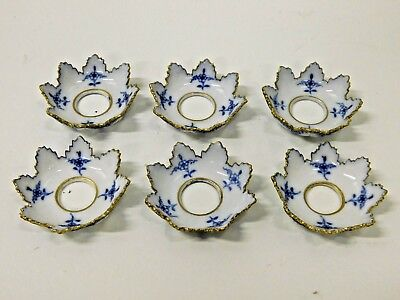 SIX Vintage ROYAL COPENHAGEN Blue White Fluted Lace Bobeches Candle Cups Rings